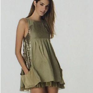 Alice + Olivia BoHo Olive Safari Sequin  Dress S 0